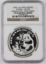 1993 China Munich Intl Coin Expo 1 Oz Silver Panda Proof Medal Coin NGC PF69 UC
