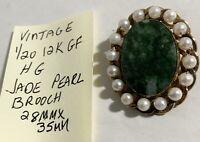 Vintage H G Gold Filled Jade Pearl Brooch Pendant 1/20 12k GF 28mm X 35mm