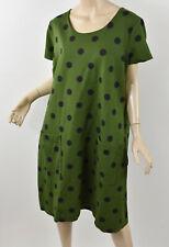 BODEN Olive Green & Navy Polka Dot Ponte Knit Shift Tunic Dress 18L 18 Long XL
