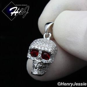 MEN WOMEN 925 STERLING SILVER ICY DIAMOND RED EYE SILVER/GOLD SKULL PENDANT*P299