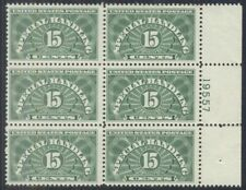 Us #Qe2a, 15¢ Special Handling, dry printing, Plate No. Block of 6, og, Nh, Vf,