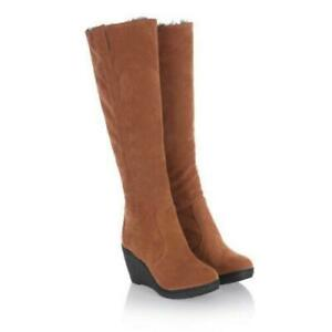 Womens Winter Warm Knee High Fur Lined Boots Wedge Heel Snow Casual Suede Shoes