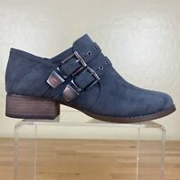 Vince Camuto Cosmika Buckle Bootie Suede Leather Womens Size 8 M Gray