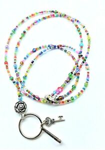 Colorful Seed Bead Lanyard MAGNETIC Women's ID Badge Holder Keys Flower Necklace