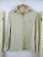 LADIES  brushed cotton beige check cowgirl/Western top shirt/blouse  S/M