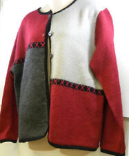 Christopher Banks Hand Embroidered Wool Cardigan Large Red Gray Color Block