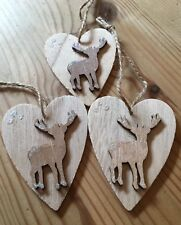 3 X Christmas Decorations Reindeer Shabby Chic Rustic Real Wood Heart Natural