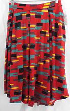 Womens LuLaRoe Madison Box Pleat Skirt Pockets 2XL Red Multi Color NWT