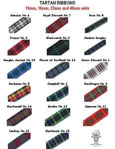 Tartan Ribbon 2 metres 17 Clans & 4 widths Berisford & Others