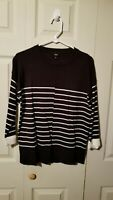 Womens Black Striped Pullover Top - Size Small