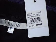 LISA HO StraplessPurpleFringedPleated100%SilkSz8NWT$899