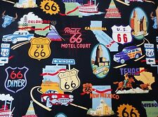 """ROUTE 66 HIGHWAY IMAGES TRAVEL SIGNS VALANCE CURTAIN APPROX 41"""" X 14"""""""