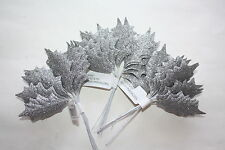 36 x SMALL SILVER GLITTER HOLLY LEAVES 50mm WIRED STEMS CHRISTMAS CRAFT