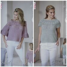 CROCHET PATTERN Ladies Frill Sleeve Jumper & Short Sleeve Top DK King Cole 5115