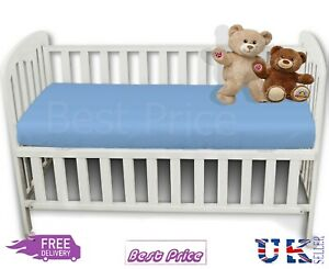 New Luxury Plain Poly-Cotton Baby Cot Bed Fitted Sheet 15cm