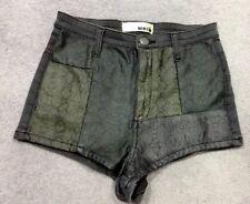 Topshop Moto Denim Cintura Alta Pantalones Cortos 8 W26 Negro Serpiente Verde Azulado Verano Festival
