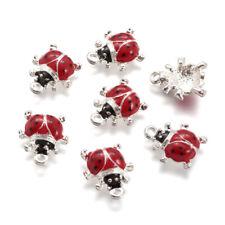 50 Pendentifs Breloques Charm Coccinelle Ladybug 11mm x 9mm métal argenté