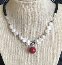 Natural Flat Side Potato Pearls and Sponge Sea Coral (Dyed) Pendant Necklace USA