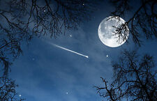 Framed Print - Shooting Star in the Night Sky with Full Moon (Picture Space Art)