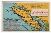 Canada BC British Columbia - Vancouver Island - Tourism Board - MAP - Postcard