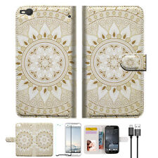 White AZTEC TRIBAL Wallet TPU Case Cover For HTC ONE X10 -- A006