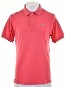 LACOSTE Mens Polo Shirt Size 5 Medium Pink Cotton HX03