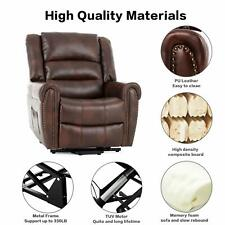 Electric Power Lift Massage Recliner Chair Heat, Vibration, Side Pockets Brown