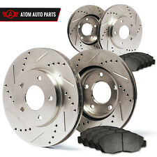 2005 Ford Escape w/Rear Disc Brake (Slotted Drilled) Rotors Metallic Pads F+R