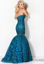 JOVANI $599 6 SEXY TURQUOISE LEOPARD EXOTIC CAT PRINT PROM PAGEANT FORMAL DRESS