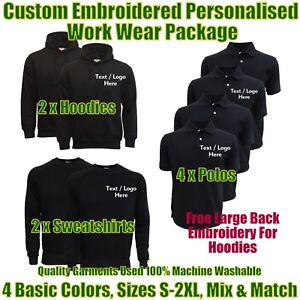 Work wear package. Embroidered Workwear Personalised Workwear. Work Wear Bundles