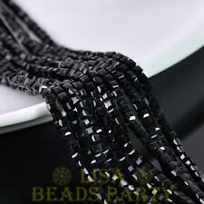 100pcs 3mm Cube Square Faceted Crystal Glass Loose Spacer Beads Black