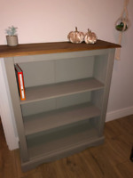 Small Rustic Bookcase Display Storage Furniture Side Cabinet Unit Grey Shelf