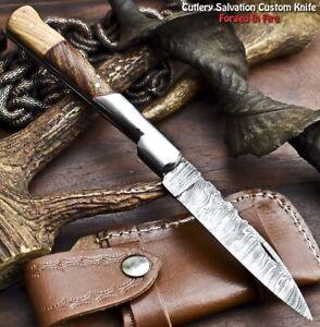 Custom Handmade Damascus Pocket Back-Lock Pocket Folding Knife   WALNUT WOOD