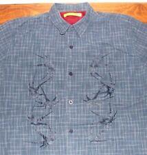 Men's   Cool blue   plaid   button up      shirt   LARGE