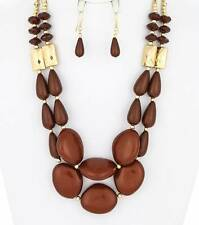 TWO LAYERS BROWN LUCITE BEAD GOLD TONE BEAD GRADUAL NECKLACE EARRING