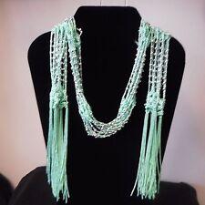 NEW Fringe-style SEAFOAM GREEN Neck Wrap/Scarf w/Silver Bead Embellishments
