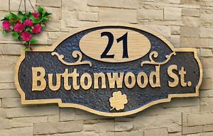 Personalised Oak Carved Wooden House Name Sign  Address Hinged Plaque Outdoor