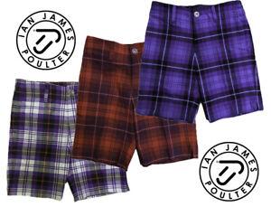 New Junior Kids Tour Ian Poulter Golf Tartan Check Shorts IJP Design Lightweight