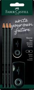Faber-Castell Grip 2001 Sleeve Set - 3x Pencils, 1x Eraser + Sharpener - Black