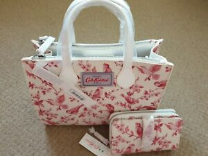Cath Kidston Birds Shoulder Bag And Purse Set Cream pink Bnwt total rrp £100