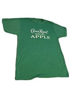 New Large Crown Royal Apple T-shirt Tee Green With White Logo Bartender Gift