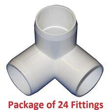 "1"" Furniture Grade 3-Way Corner Elbow PVC Fitting - 24 Pack"