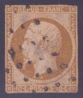 "FRANCE N°9 "" NAPOLEON 10c BISTRE-JAUNE"" OBLITERE A VOIR"