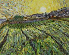 "Repro 20""x24"" Handmade Van Gogh Oil Paintings - Wheat Field with Rising Sun"