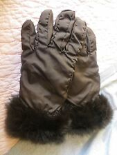 NWOT Neiman Marcus ladies brown nylon & rabbit fur gloves sz SMALL $75
