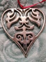 Hand & Hammer Heart Sterling Silver Christmas Ornament 2 3/8""