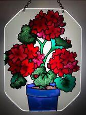 Joan Baker hand painted art glass Sunsmiles Suncatcher Geraniums rare item
