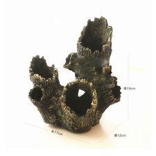 Resin Tree Stump Wood Hole Cave Home Ornament Decoration For Aquarium Tank Fish