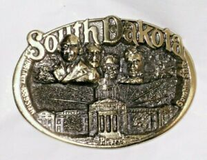 Vintage 1983 Solid Brass ~ SOUTH DAKOTA ~ Men's BELT BUCKLE Made in USA