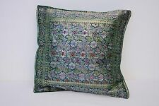 KASHMERE 100% SILK GREEN FLORAL THROW  PILLOW CASE COVER CASE 10'' X 10''